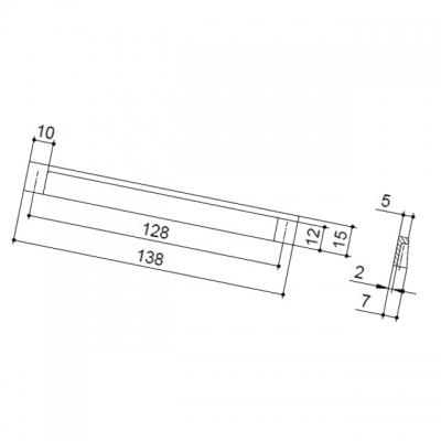Ручка-скоба 128мм, отделка хром матовый лакированный 8.1025.0128.42