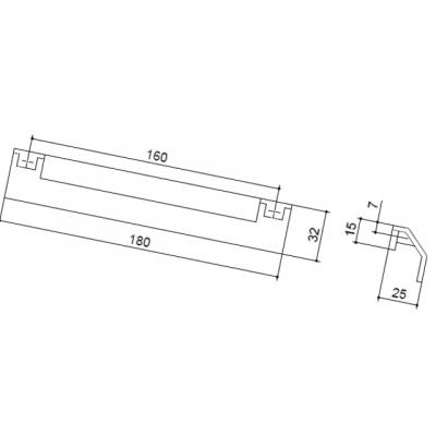 Ручка-скоба 160мм, отделка никель матовый 8.1042.0160.30