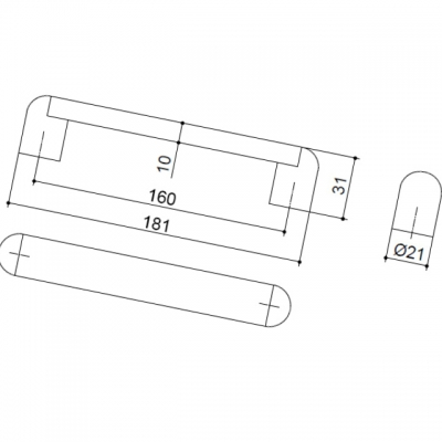 Ручка-скоба 160мм, отделка никель матовый + транспарент прозрачный 8.993.0160.30-93