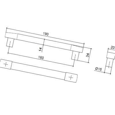 Ручка-скоба 160мм, отделка никель матовый + транспарент прозрачный 8.987.0160.30-93
