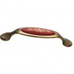 Ручка-скоба 128мм, отделка бронза старая + керамика (2 винта М4х22.5 + 2 винта М4х25) M34.17.173.02.M