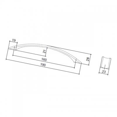 Ручка-скоба 160мм, отделка никель матовый 8.1034.0160.30