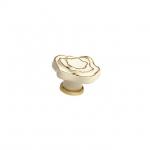 Ручка-кнопка, отделка керамика слоновая кость + золото P61.01.M9.06