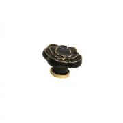 Ручка-кнопка, отделка керамика черная + золото P61.07.M9.06