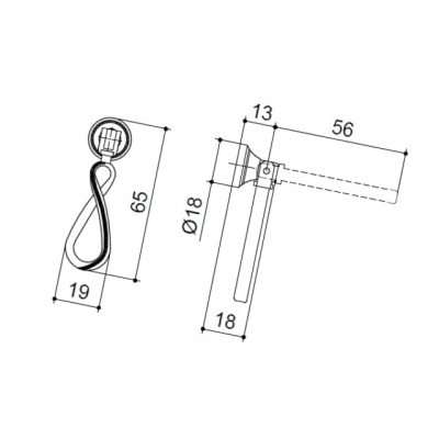 Ручка-серьга, отделка серебро античное 5.328.B17