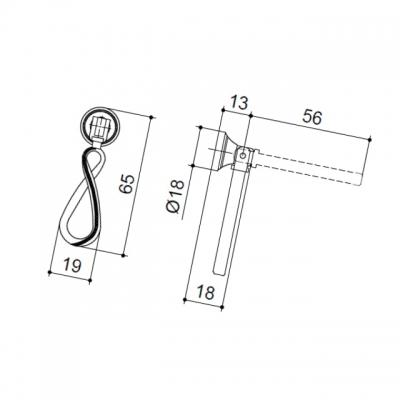 Ручка-серьга, отделка серебро античное 5.328.B17N
