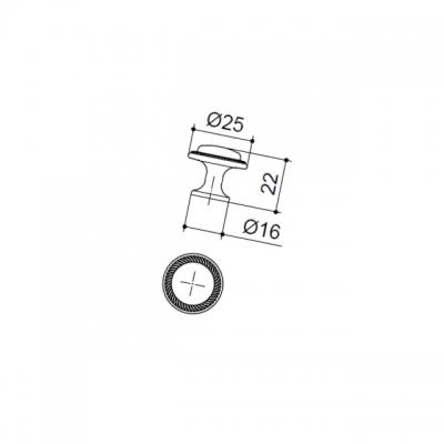 Ручка-кнопка, отделка бронза античная красная 10.784.B23