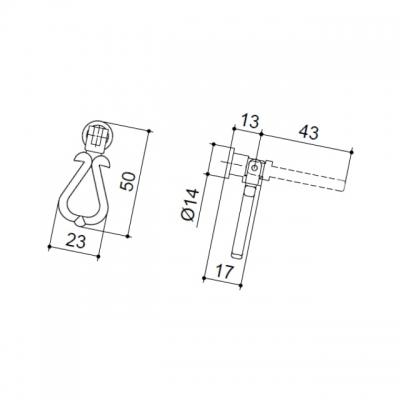 Ручка-серьга, отделка бронза матовая 5.329.B28