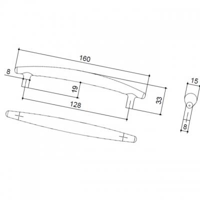Ручка-скоба 128мм, отделка никель матовый 8.972.0128.30