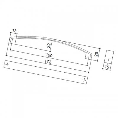 Ручка-скоба 160мм, отделка никель матовый 8.1026.0160.30