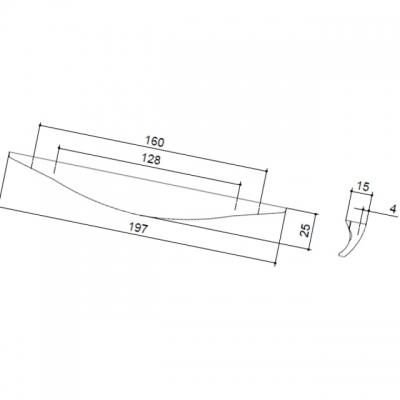 Ручка-скоба 160-128мм, отделка хром матовый 8.1056.160128.45