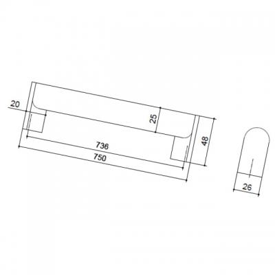 Ручка-скоба 736мм, отделка никель матовый шлифованный + сталь нержавеющая шлифованная 8.1060.0736.35-33