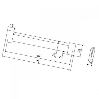 Ручка-скоба 64мм, отделка хром матовый лакированный + венге 8.1067.0064.42-1894