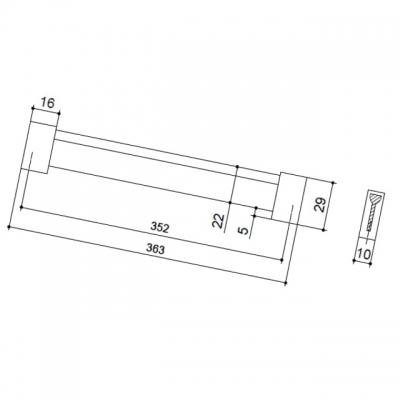 Ручка-скоба 352мм, отделка хром матовый лакированный + венге 8.1067.0352.42-1894