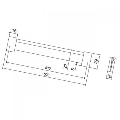 Ручка-скоба 512мм, отделка хром матовый лакированный + венге 8.1067.0512.42-1894