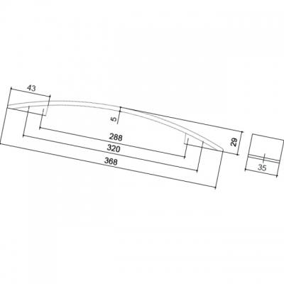 Ручка-скоба 320-288мм, отделка хром матовый 8.1068.320288.45