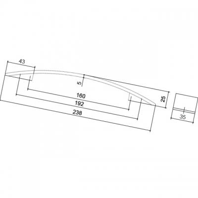 Ручка-скоба 192-160мм, отделка никель глянец шлифованный 8.1068.192160.34