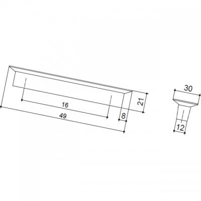 Ручка-кнопка 16мм, отделка транспарент матовый + синий 8.1069.0016.94-0473