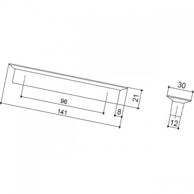Ручка-скоба 96мм, отделка транспарент матовый + красный 8.1069.0096.94-0472