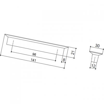 Ручка-скоба 96мм, отделка транспарент матовый + кремовый 8.1069.0096.94-0404