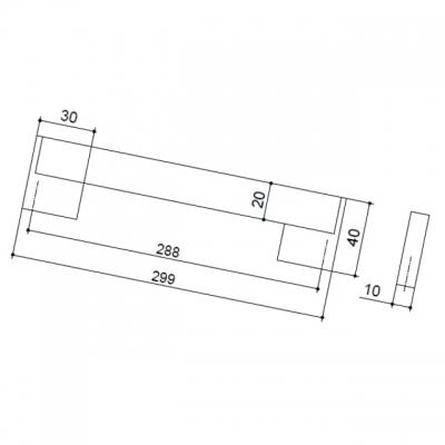 Ручка-скоба 288мм, отделка хром матовый лакированный + венге 8.1073.0288.42-1894