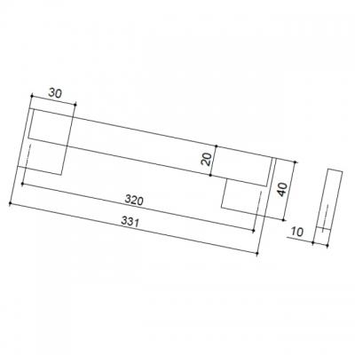 Ручка-скоба 320мм, отделка хром матовый лакированный + венге 8.1073.0320.42-1894