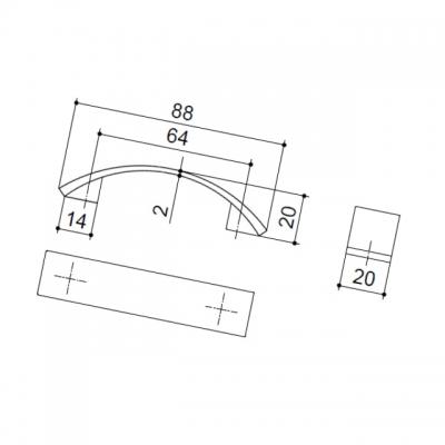 Ручка-скоба 64мм, отделка хром матовый 8.1075.0064.45