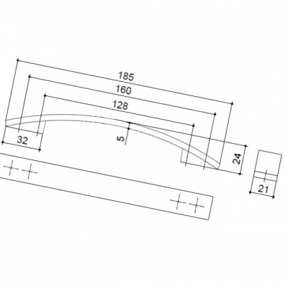 Ручка-скоба 160-128мм, отделка хром матовый 8.1075.160128.45