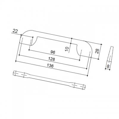 Ручка-скоба 128-096мм, отделка хром матовый лакированный 8.1081.128096.42