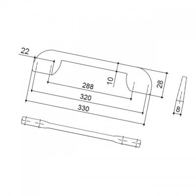 Ручка-скоба 320-288мм, отделка хром глянец 8.1081.320288.40