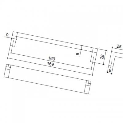 Ручка-скоба 160мм, отделка хром матовый + транспарент прозрачный 8.1082.0160.45-93