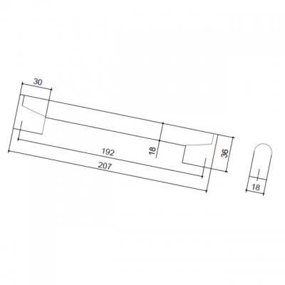 Ручка-скоба 192мм, отделка хром глянец 8.1087.0192.40-40
