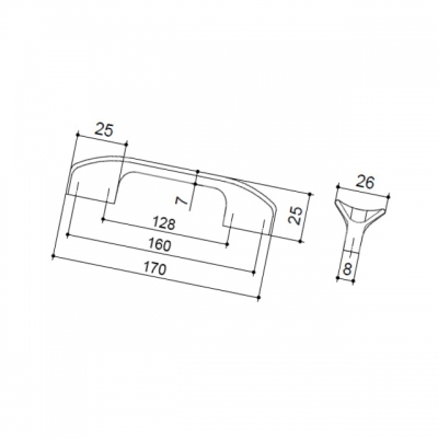 Ручка-скоба 160-128мм, отделка хром глянец 8.1108.160128.40