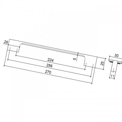 Ручка-скоба 256-224мм, отделка хром глянец 8.1119.256224.40