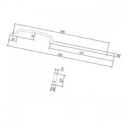 Ручка-скоба 288мм, отделка хром матовый лакированный 8.1129.0288.42
