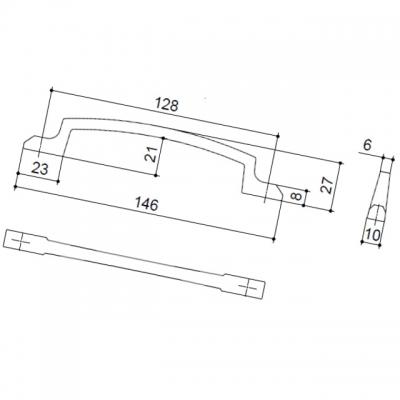 Ручка-скоба 128мм, отделка хром матовый лакированный 8.1130.0128.42
