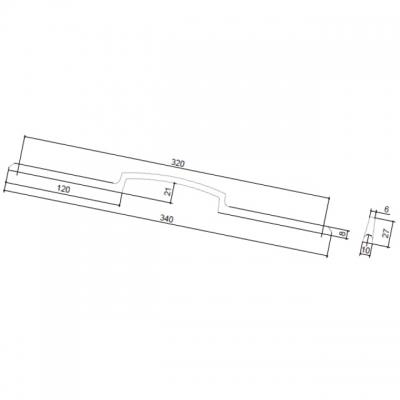 Ручка-скоба 320мм, отделка хром матовый лакированный 8.1130.0320.42