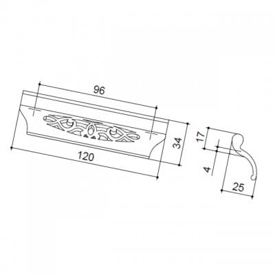 Ручка-скоба 96мм, отделка бронза античная французская 9.1340.0096.25