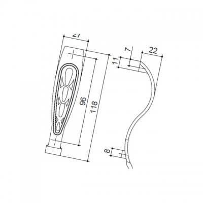 Ручка-скоба 96мм, отделка бронза античная французская 9.1341.0096.25