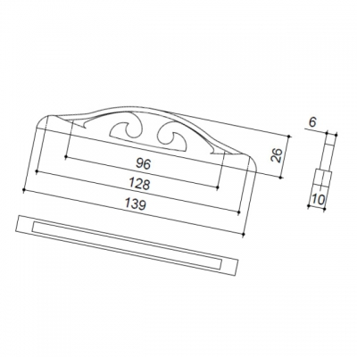 Ручка-скоба 128-096мм, отделка серебро античное 9.1348.128096.17