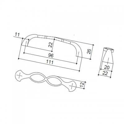 Ручка-скоба 96мм, отделка серебро античное 9.1349.0096.17N