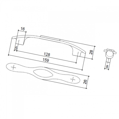 Ручка-скоба 128мм, отделка бронза античная красная + вставка 9.1350.0128.25-113