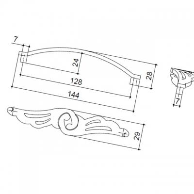 Ручка-скоба 128мм, отделка бронза античная французская 9.1352.0128.25