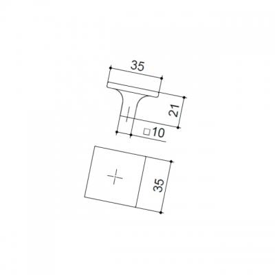 Ручка-кнопка, отделка никель глянец шлифованный 10.817.C34