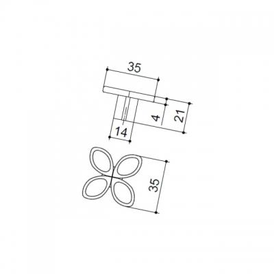 Ручка-кнопка, отделка серебро античное 10.824.B17