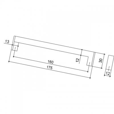 Ручка-скоба 160мм, отделка хром матовый лакированный 25.608.0160.42-42