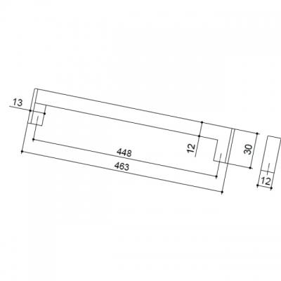Ручка-скоба 448мм, отделка хром матовый лакированный 25.608.0448.42-42