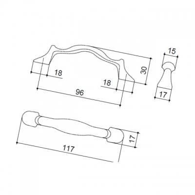 Ручка-скоба 96мм, отделка бронза MZ.1260