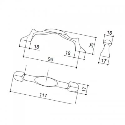 Ручка-скоба 96мм, отделка бронза + керамика MZ.1265