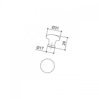 Ручка-кнопка, отделка золото + керамика PP.50